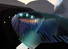 Vizualizace objektu, detail skleněného fragmentu